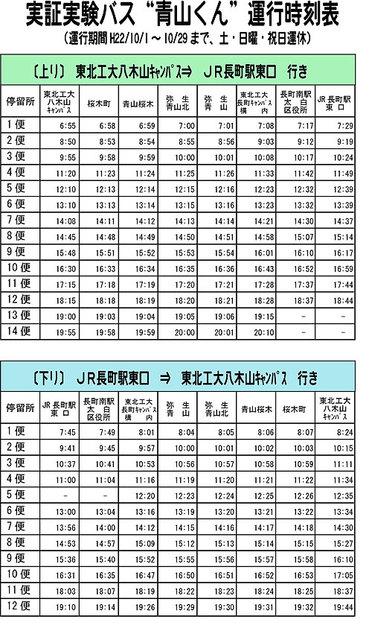 実証実験バス「青山くん」時刻表
