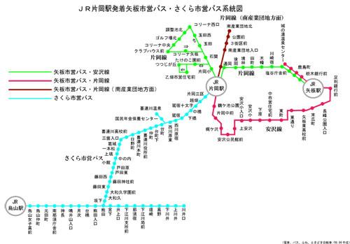 さくら市営バス・矢板市営バス路線図