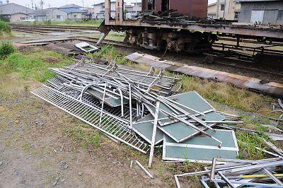 解体されるくりはら田園鉄道車両