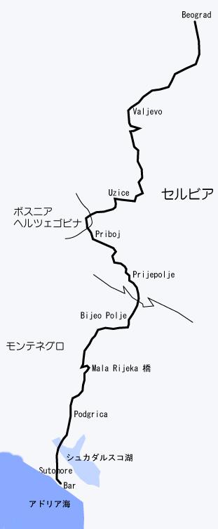 ベオグラード・バール鉄道路線図