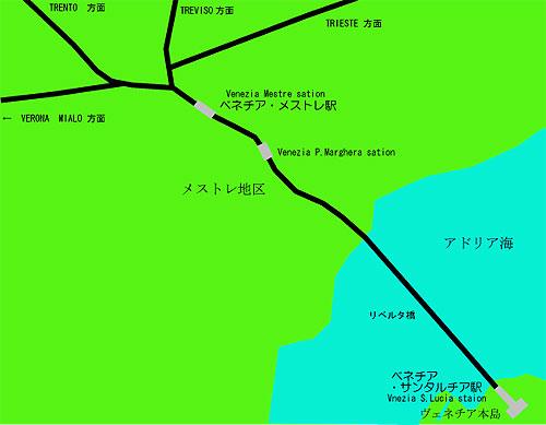 ベネチアの駅位置図