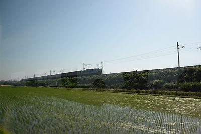 富山地方鉄道車窓からトワイライトエクスプレス