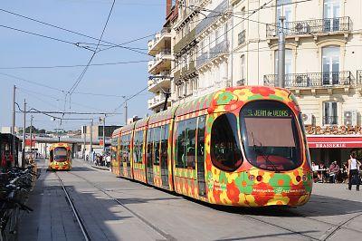 モンペリエのLRT(モンペリエ駅前)