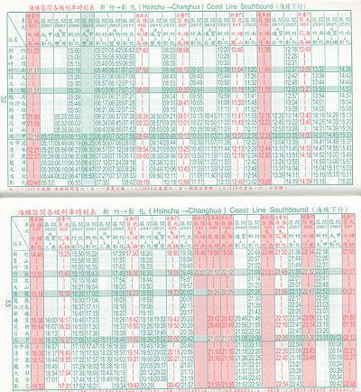 台湾・火車時刻表